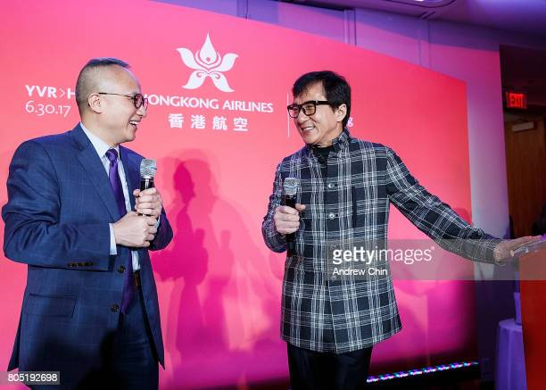 Chief Marketing Officer of Hong Kong Airlines George Liu moderates a conversation with actor martial artist Jackie Chan during the media QA session...