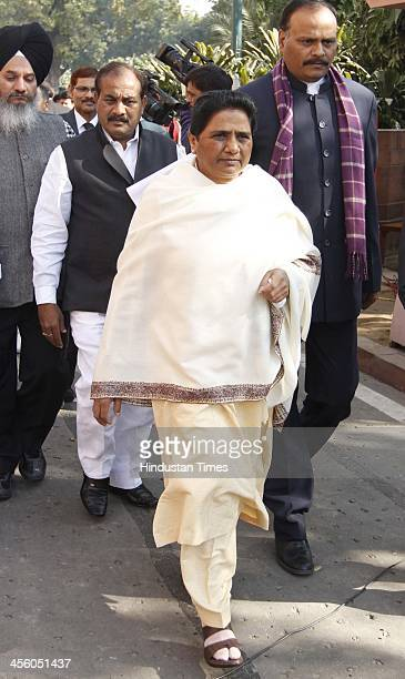 Chief Mayawati after paying homage to martyrs of Parliament attack on its 12th anniversary on December 13 2013 in New Delhi India On December 13 five...