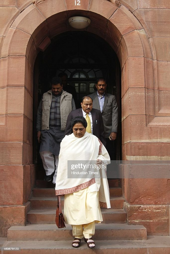 BSP Chief Mayawati at Parliament House on December 19, 2014 in New Delhi, India. Progress on key bills such as a nationwide sales tax scrutinised as Parliament's winter session ends. Developments in Russia and foreign fund flows will be key. With the Opposition giving the government a hard time in Parliament over the alleged forced conversion row, the fate of several crucial bills hangs in a limbo. The government had planned to get key bills like Insurance Bill and GST Bill passed in the ongoing Winter Session. But with just three days left in the Winter session of Parliament there is hardly any hope that the government will be able to get the Bills passed.