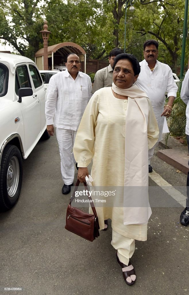 BSP chief Mayawati during the Parliament session on May 4, 2016 in New Delhi, India. Congress walks out of the House demanding time-bound Supreme Court-monitored CBI probe on the AgustaWestland helicopter deal.