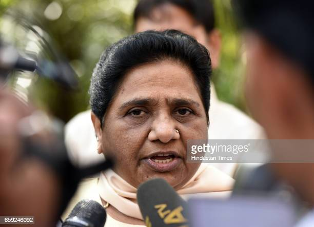 Chief Mayawati talking to media persons during the Parliament Budget Session part2 on March 28 2017 in New Delhi India The government has listed the...