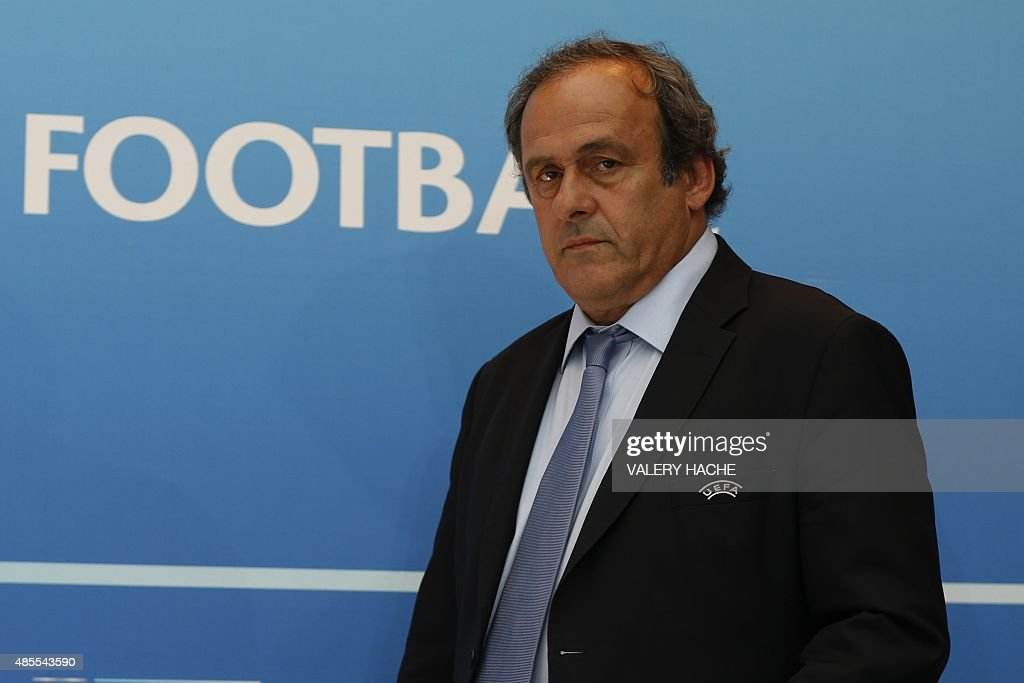 UEFA chief <a gi-track='captionPersonalityLinkClicked' href=/galleries/search?phrase=Michel+Platini&family=editorial&specificpeople=206862 ng-click='$event.stopPropagation()'>Michel Platini</a> arrives for a UEFA press conference after the draw for the UEFA Europa League football group stage 2015/16 on August 28, 2015 in Monaco. AFP PHOTO / VALERY HACHE