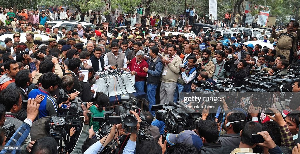 UP Chief Minister Akhilesh Yadav interacting with media persons after inspecting Allahabad railway station and meeting with patients who sustained injuries in the stampede which resulted into tragic death of 37 persons,on February 12, 2013 in Allahabad, India. Around 3 crore pilgrims had assembled on February 10 on the occasion of Mauni Amawasya at Kumbh mela to have a holy dip.