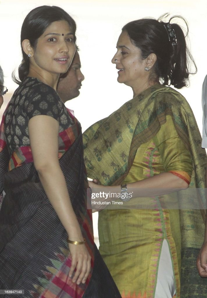 UP Chief Minister Akhilesh Yadav's wife MP Dimple Yadav with congress leader Kiran Choudhary after attending the ongoing parliament budget session on March 18, 2013 in New Delhi, India. Samajwadi Party members today disrupted both houses of parliament demanding the sacking of Steel Minister Beni Prasad Verma over his alleged comments that their party chief Mulayam Singh Yadav had terrorist links.