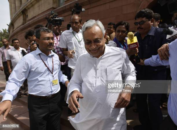 Chief Minister Bihar Nitish Kumar after meeting Prime Minister Narendra Modi on August 11 2017 in New Delhi India