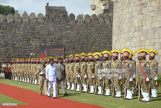 Chief Minister from southern state of Telangana KChandrasekhar Rao takes the Guard of Honour during the celebrations of the 68th Independence Day at...