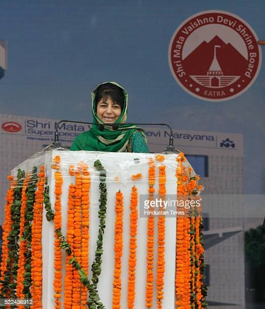 Chief Minister Mehbooba Mufti addressing a public rally after inauguration of a sports complex and a superspecialty hospital set up by the Shri Mata...