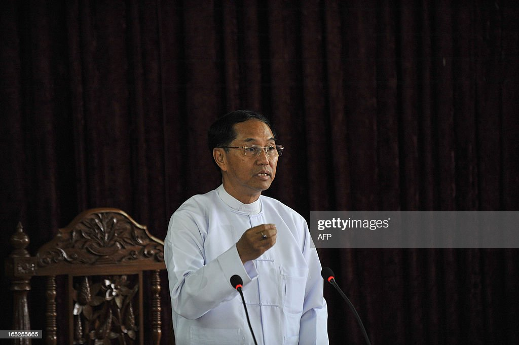 Chief minister Myint Swe speaks during a press conference following a fire at an Islamic school in Yangon on April 2, 2013. A fire killed 13 students at a Muslim school in Myanmar's main city on April 2, police said, raising tensions in the wake of sectarian clashes despite police assurances that the blaze was accidental.