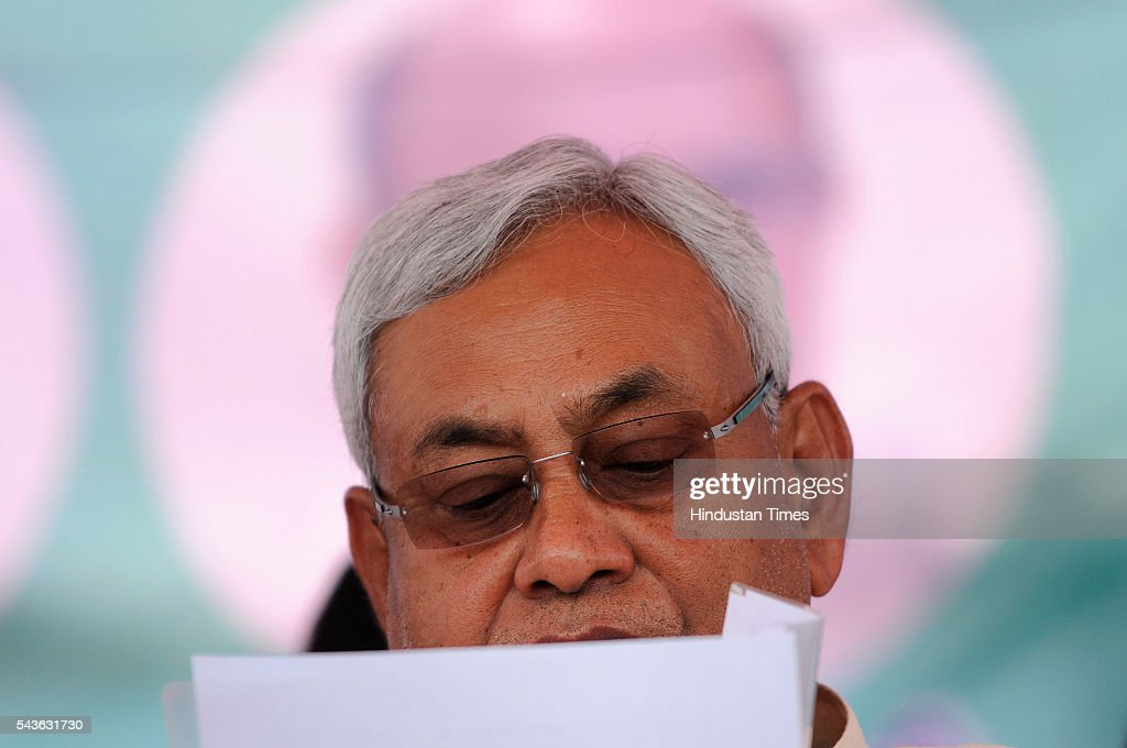 Chief Minister of Bihar, Nitish Kumar addressed a rally in which he lambasted on the central and state government demanding liquor ban at Jewar on June 29, 2016 in Greater Noida, India. Kumar targeted Prime Minister Narendra Modi for showing off Yoga and allowing sale of liquor. At anti-liquor rally, Kumar sought support of the residents of Uttar Pradesh to ban liquor.
