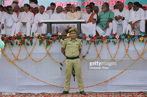 Chief Minister of Bihar Nitish Kumar addresses a rally in which he lambasted on the central and state government demanding liquor ban at Jewar on...