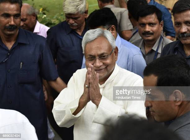 Chief Minister of Bihar Nitish Kumar after a luncheon meeting with Prime Minister Narendra Modi during press conference at Bihar Bhawan on May 27...