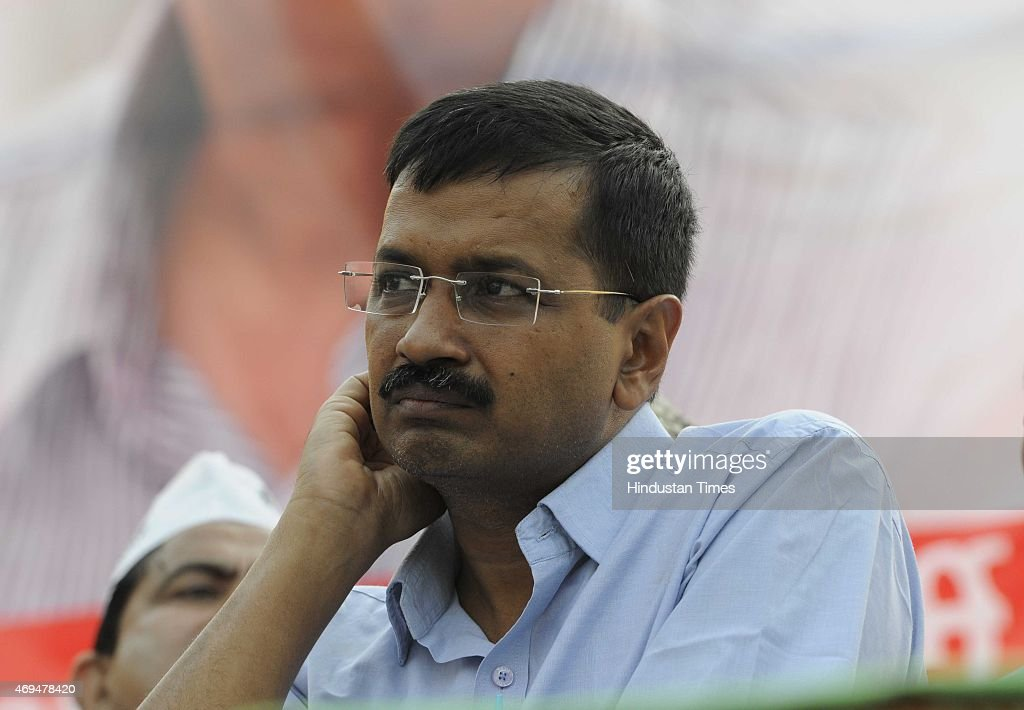Chief Minister of Delhi Arvind Kejriwal addresses during an 'Adhikar Rally and Abhindan Samaroh' organized by Aam Aadmi Party (AAP) workers at Karawal Nagar, East Delhi, on April 12, 2015 in New Delhi, India. Kejriwal said farmers are 'dying in all states' and he hopes farmers will now raise their voice in other states too. Kejriwal also announced that the government was working on a plan to provide a subsidy to farmers on the purchase of seeds and fertilisers.