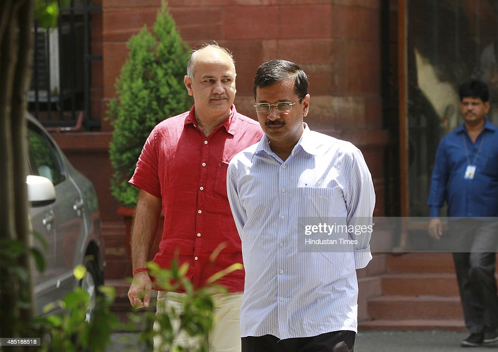 Chief Minister of Delhi <a gi-track='captionPersonalityLinkClicked' href=/galleries/search?phrase=Arvind+Kejriwal&family=editorial&specificpeople=5980396 ng-click='$event.stopPropagation()'>Arvind Kejriwal</a> and Deputy Chief Minister Manish Sisodia coming out after meeting with Prime Minister Narendra Modi (not in picture) at PM Office on August 25, 2015 in New Delhi, India. Chief Minister told Prime Minister that Delhi Police seemed to be at war with the Delhi government and vowed to make Delhi 'a shining city' if he had the central government's cooperation.