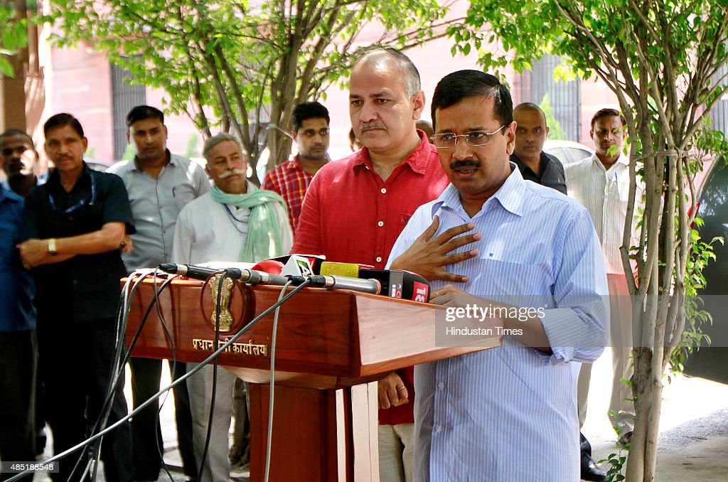 Chief Minister of Delhi <a gi-track='captionPersonalityLinkClicked' href=/galleries/search?phrase=Arvind+Kejriwal&family=editorial&specificpeople=5980396 ng-click='$event.stopPropagation()'>Arvind Kejriwal</a> and Deputy Chief Minister Manish Sisodia addressing media after meeting with Prime Minister Narendra Modi (not in picture) at PM Office on August 25, 2015 in New Delhi, India. Chief Minister told Prime Minister that Delhi Police seemed to be at war with the Delhi government and vowed to make Delhi 'a shining city' if he had the central government's cooperation.
