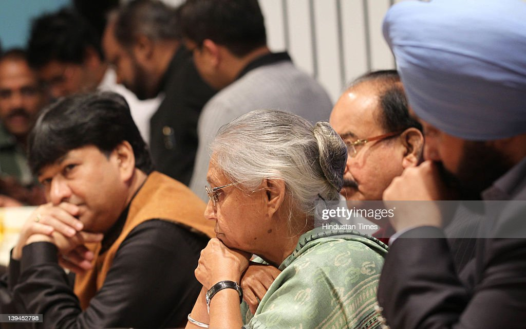 Chief Minister of Delhi Sheila Dikshit along with other Delhi ministers before releasing working report 2011 of Delhi Govt at Delhi Secretariat on...