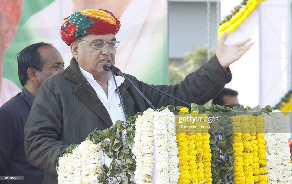"Chief minister of Haryana Bhupender Singh Hooda at Kisan Sammelan on the occasion of late Rajesh Pilot's 68th birth anniversary on February 10, 2013 in Gurgaon, India. Sachin Pilot listed the ""pro-farmer and pro-people"" initiatives taken by the Congress-led coalition in the past eight years."