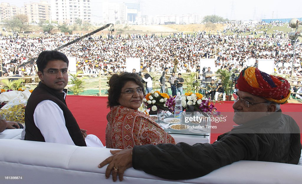 """Chief minister of Haryana Bhupender Singh Hooda, Rama pilot and Corporate Affairs minister Sachin pilot at Kisan Sammelan on the occasion of late Rajesh Pilot's 68th birth anniversary on February 10, 2013 in Gurgaon, India. Sachin Pilot listed the """"pro-farmer and pro-people"""" initiatives taken by the Congress-led coalition in the past eight years."""