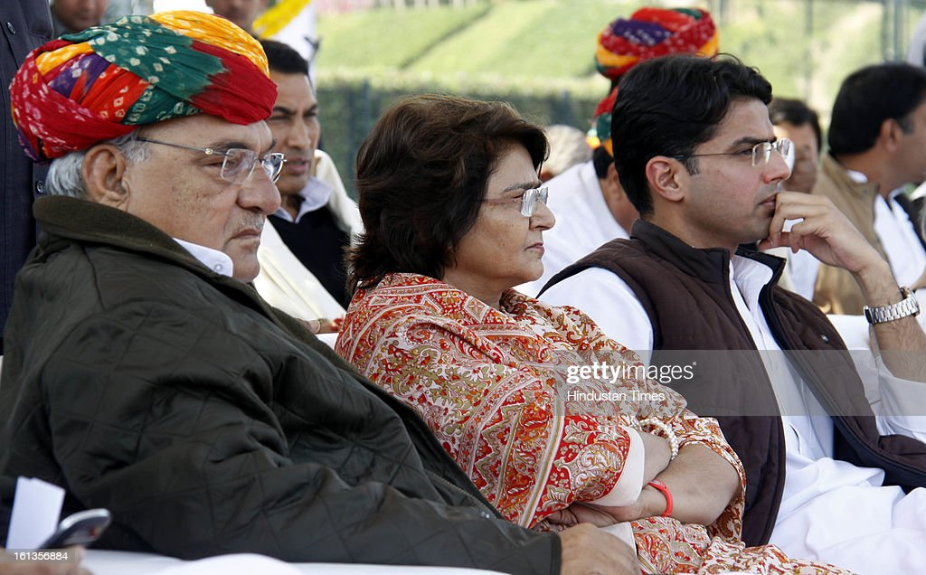 "Chief minister of Haryana Bhupender Singh Hooda, Rama pilot and Corporate Affairs minister Sachin pilot at Kisan Sammelan on the occasion of late Rajesh Pilot's 68th birth anniversary on February 10, 2013 in Gurgaon, India. Sachin Pilot listed the ""pro-farmer and pro-people"" initiatives taken by the Congress-led coalition in the past eight years."
