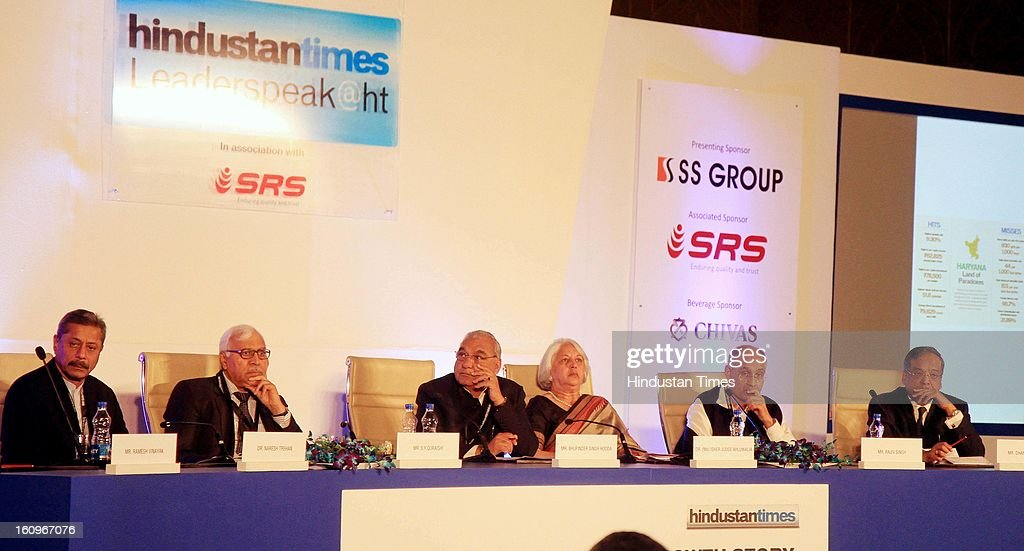 Chief minister of Haryana Bhupinder Singh Hooda along with other panelist Naresh Trehan, Former CEC India SY Quraishi , Vice Chairman DLF Ltd Rajiv Singh, Chairperson of Indian council for Research on International Economic Relation Isher Judge Ahluwalia, Former IAS Dhanendra Kumar during panel discussion on uncovering the Haryana growth story Gains, Gaps and Goals at Leaderspeak@ht, on February 8, 2013 in Gurgaon, India.