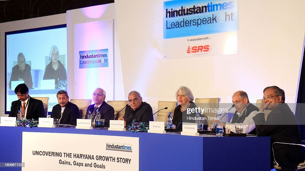 Chief minister of Haryana Bhupinder Singh Hooda (4 L) along with other panelist Naresh Trehan (2 L), Former CEC India SY Quraishi (3 L), Chairperson of Indian council for Research on International Economic Relation Isher Judge Ahluwalia (5 L), Vice Chairman DLF Ltd Rajiv Singh (2 R), Former IAS Dhanendra Kumar (R), Resident Editor Hindustan Times Ramesh Vinayak (L) during panel discussion on uncovering the Haryana growth story Gains, Gaps and Goals at Leaderspeak@ht, on February 8, 2013 in Gurgaon, India.