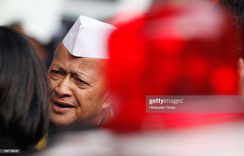 Chief Minister of Himachal Pradesh Virbhadra Singh coming out after the Indian National Congress party's 127th foundation day function at AICC headquarters on December 28, 2012 in New Delhi, India.