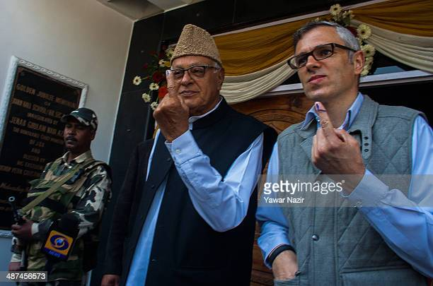 Chief Minister of Jammu and Kashmir Omar Abdullah and president of the National Conference party Kashmir's ruling party With his father Farooq...