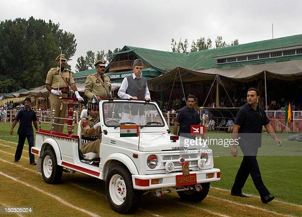 Chief Minister of Jammu and Kashmir Omar Abdullah receives guard of honor during India's Independence Day celebrations on August 15 2012 in Srinagar...