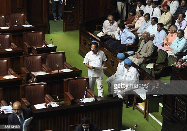 Chief minister of Karnataka Sadanada Gowda arrives to take part in the assemble session at the Vidhana Soudha in Bangalore on February 8 2012 Three...