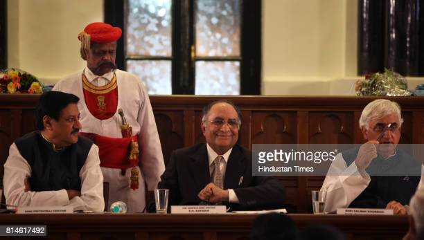 Chief Minister of Maharashtra Prithviraj Chavan Chief Justice of India Justice SH Kapadia and Salman Khurshid Ministry of Law and Justice at Bombay...