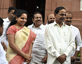 Chief Minister of Telangana KC Rao with his party leaders and daughter K Kavitha at Parliament House on the opening day of the Monsoon Session on...