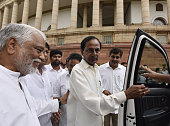 Chief Minister of Telangana KC Rao with his party leaders at Parliament House on the opening day of the Monsoon Session on July 18 2016 in New Delhi...