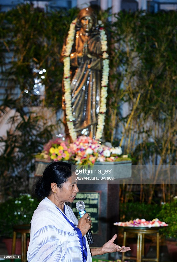 Chief Minister of the eastern Indian state of West Bengal Mamata Banerjee speaks after unveiling a lifesize bronze statue of Mother Teresa at The...