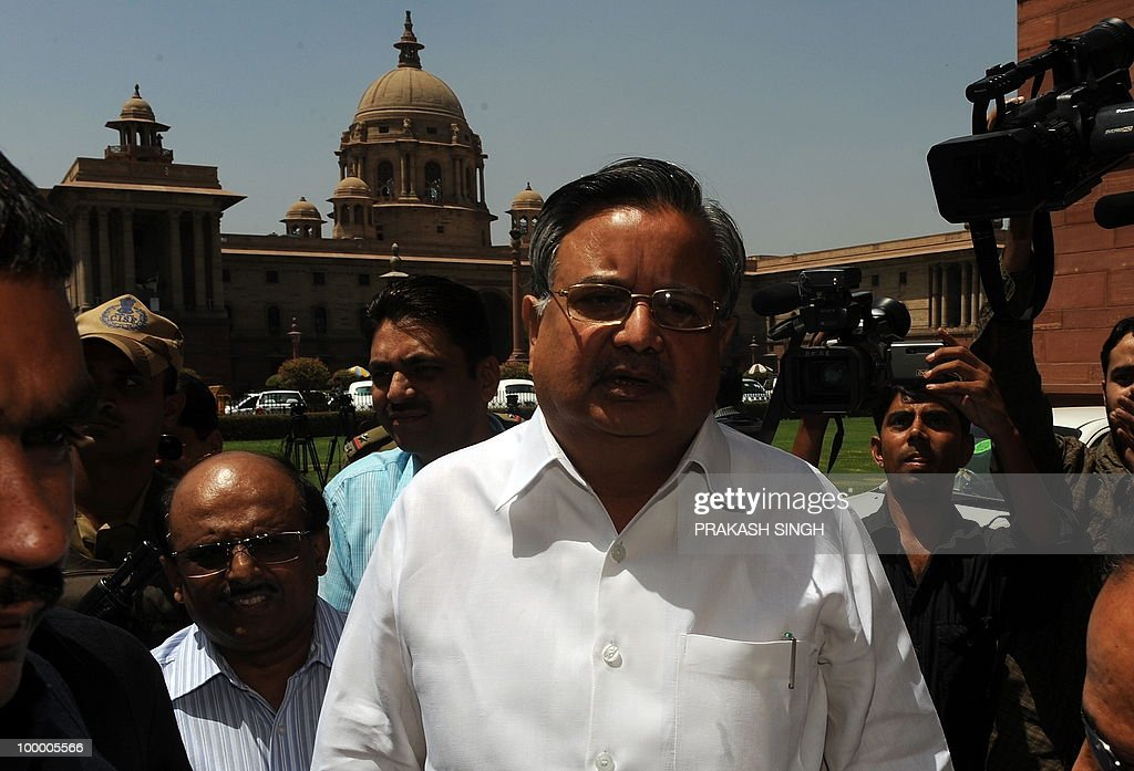 Chief Minister of the Indian state of Chhattisgarh Raman Singh arrives to meet Union Home MInister P. Chidambaram at The Home Ministry in New Delhi on May 20, 2010. Terming Naxals as the biggest terrorists, Chhattisgarh Chief Minister Raman Singh said that there cannot be a 'soft line' to deal with Maoists but disfavoured use of air power to combat the menace. Attributing the recent spur in the Naxal violence to frontal operations by the security forces in the state, Singh favoured a long-term action joint action plan with the Centre to tackle the problem. AFP PHOTO/Prakash SINGH