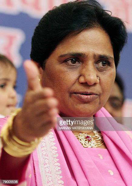 Chief Minister of the Indian state of Uttar Pradesh and Bahujan Samaj Party Chief Mayawati gestures during a media conference in New Delhi 15 January...