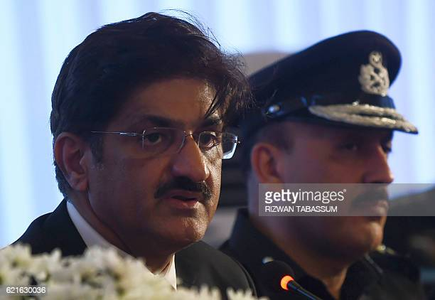 Chief minister of the southern Sindh province Pakistan Syed Murad Ali Shah speaks during a press conference on arrested militants belonging to a...