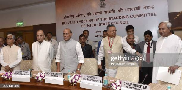 Chief Minister of Tripura Manik Sarkar Union Minister for Finance and Defence Arun Jaitley Union Home Minister Rajnath Singh with Chief Minister of...