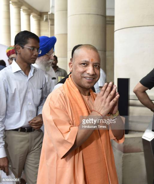 Chief Minister of Uttar Pradesh Yogi Adityanath after casting his vote for Vice Presidential Election at Parliament House on August 5 2017 in New...