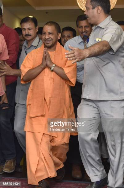 Chief Minister of Uttar Pradesh Yogi Adityanath arrives during the 11th Standing Committee Meeting of the InterState Council at Vigyan Bhawan on...