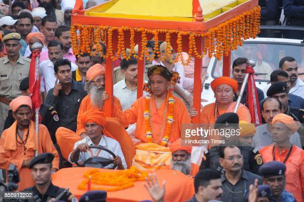 Chief Minister of Uttar Pradesh Yogi Adityanath leads the procession of Dussehra from Gorakhnath Temple in Gorakhpur on September 30 2017 in Lucknow...
