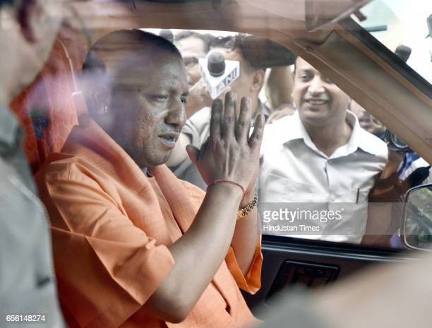Chief Minister of Uttar Pradesh Yogi Adityanath leaves Parliament after the meeting with Prime Minister Narendra Modi and Finance Minister Arun...