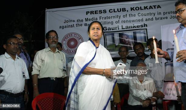 Chief Minister of West Bengal Mamata Banerjee and journalists during a protest rally against the murder of senior journalist Gauri Lankesh