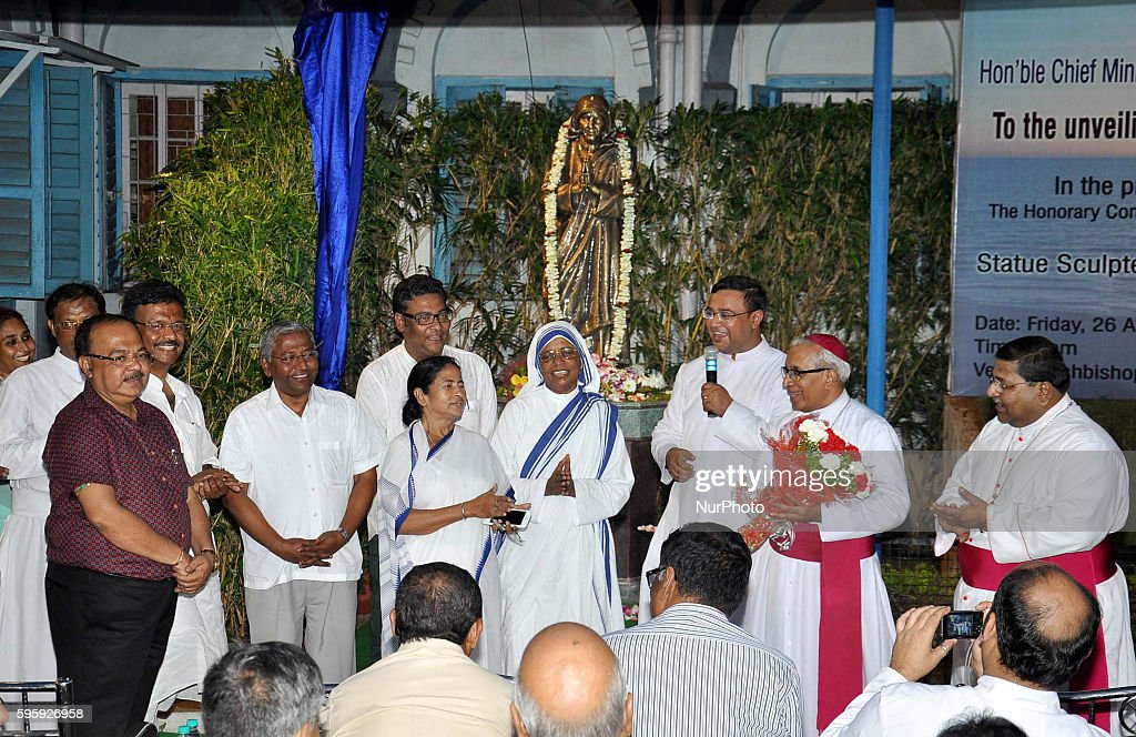 Chief Minister of West Bengal Mamata Banerjee speaks after unveiling a lifesize bronze statue of Mother Teresa at The Archbishop's House in Kolkata...