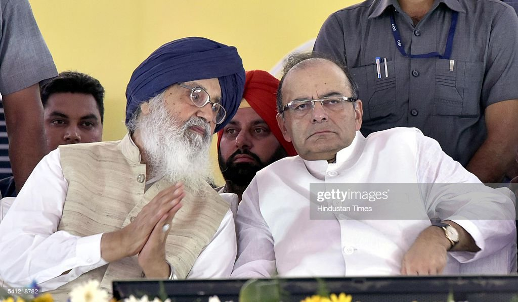 Chief Minister Parkash Singh Badal and Union Finance Minister Arun Jaitley during the laying foundation stone of the Indian Institute of Management...