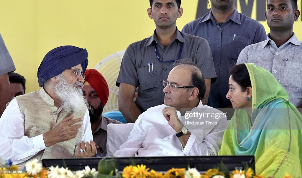 Chief Minister Parkash Singh Badal Union Finance Minister Arun Jaitley and Punjab Union Cabinet Minister of Food Processing Harsimrat Kaur Badal...