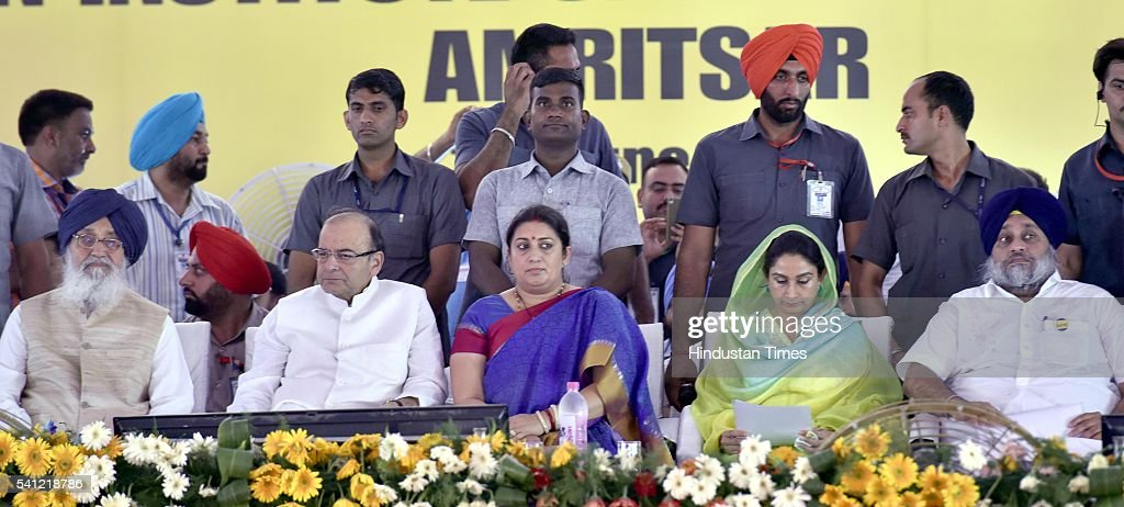 Chief Minister Parkash Singh Badal Union Finance Minister Arun Jaitley Human Resource Development Minister Smriti Irani Punjab Union Cabinet Minister...