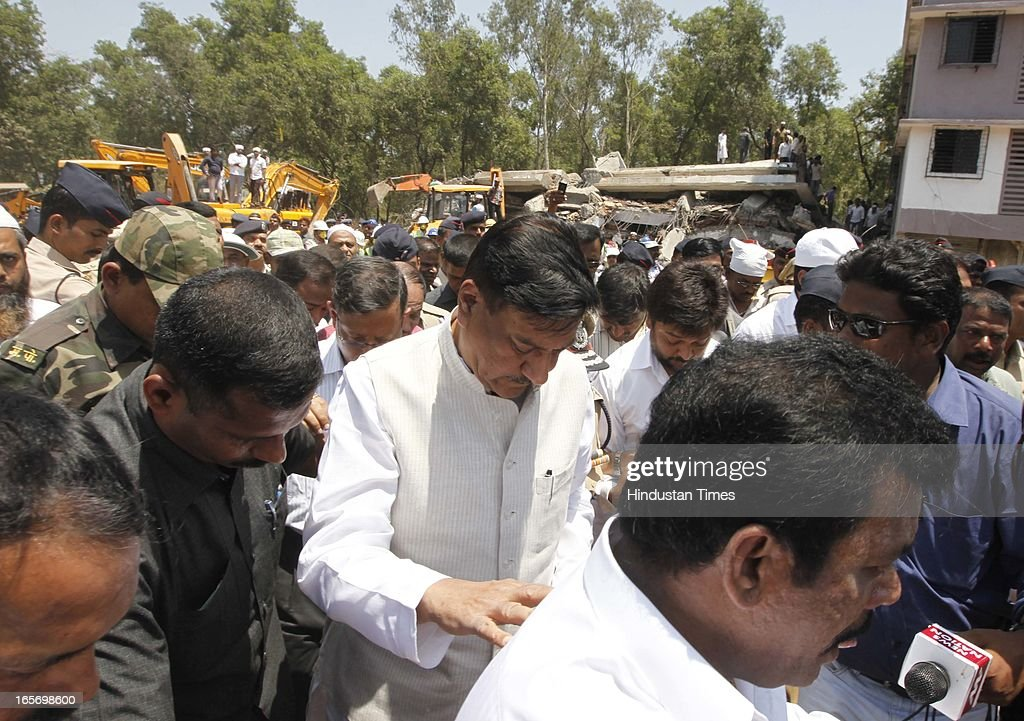 Chief Minister Prithviraj Chavan and Thane Commissioner visited the spot where seven storey illegal building collapsed claiming 44 lives at Mumbra on April 5, 2013 in Thane, India. The building is illegal and constructed on Forest land. Police have registered a case against builders Salil and Khalil Jamadar under Section 304.