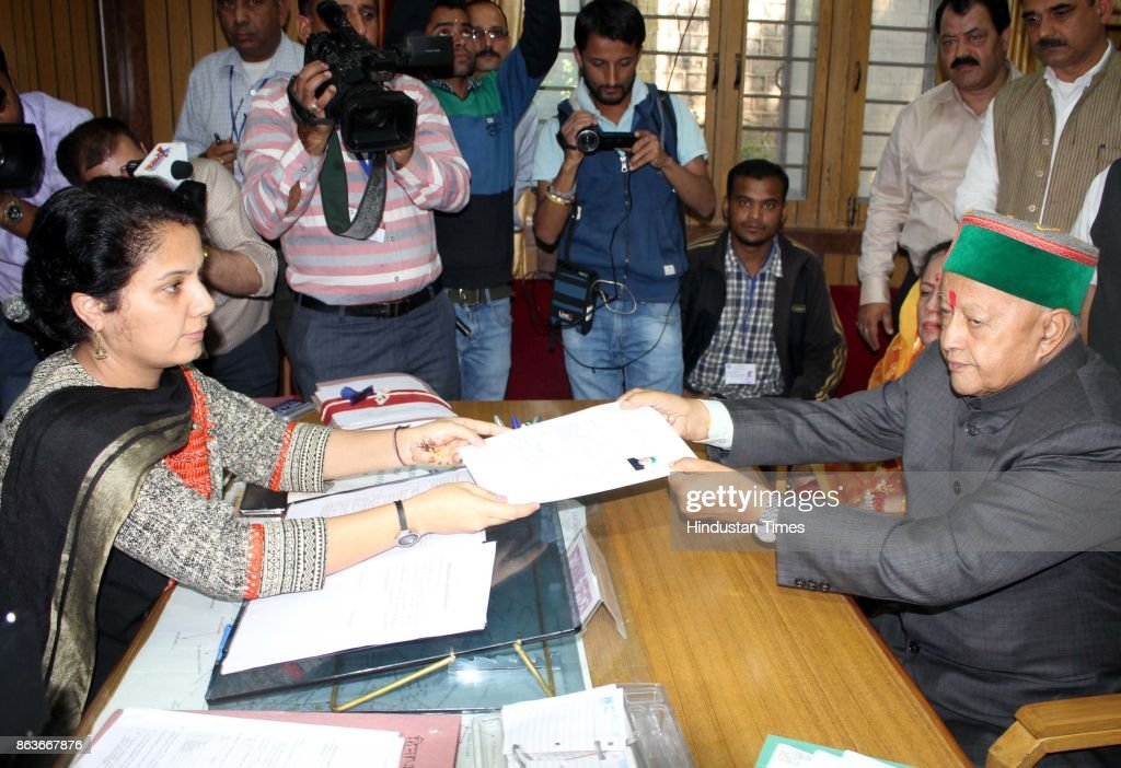 Himachal Pradesh Chief Minister Virbhadra Singh Files Nomination Papers From Arki