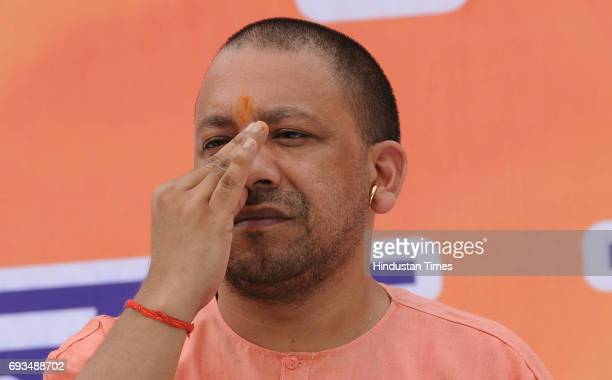 Chief Minister Yogi Adityanath doing yoga in Raj Bhawan ahead of the June 21 International Yoga Day in which Prime Minister Narendra Modi would be...