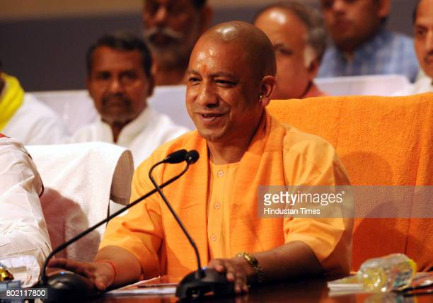 Chief Minister Yogi Adityanath during a press conference on completing 100 days of his government on June 27 2017 in Lucknow India