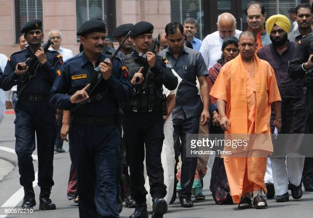 Chief Minister Yogi Adityanath on his way to inaugurate 181 women helpline rescue van at 5 Kalidas Marg on June 24 in Lucknow India Yogi Adityanath...